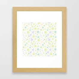 Cute Pastel Cannabis Pattern Framed Art Print