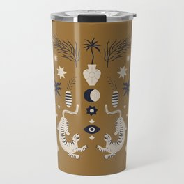 Mid Century Magic Cool Minimal Minimalist Neutral Tones Fantasy Abstract Illustration Moon Sun Tiger Chinese Zodiac Travel Mug