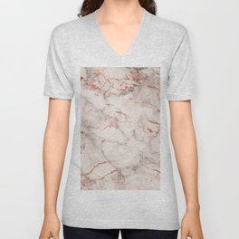 Elegant abstract gray rose gold foil marble Unisex V-Neck