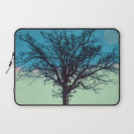 Teal and Aqua Abstract Moonlit Sky Tree Landscape A325 Laptop Sleeve