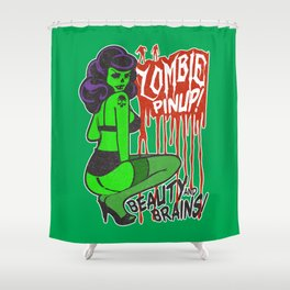 Zombie Bombshell Pinup Shower Curtain