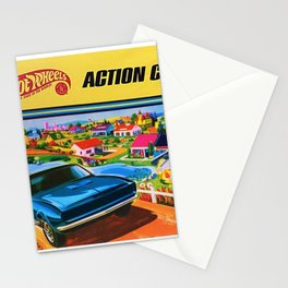 1970 Vintage Hot Wheels Redline Action Center Poster Stationery Cards