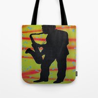 saxophone Tote Bags featuring Saxophone Player by Jared Haberman