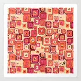 Watercolour Squares Red Amanya Design Art Print