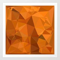 Dark Orange Carrot Abstract Low Polygon Background Art Print