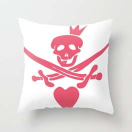 Funny pink glamorous Jolly Roger flag with swords, heart and crown Throw Pillow