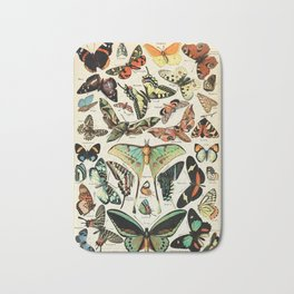 Papillon I Vintage French Butterfly Charts by Adolphe Millot Bath Mat