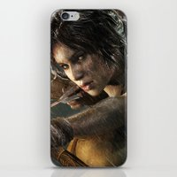 tomb raider iPhone & iPod Skins featuring TOMB RAIDER by Ylenia Pizzetti
