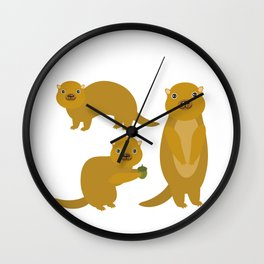 Set of funny Gopher ground squirrel with acorn on white background. Vector illustration Wall Clock
