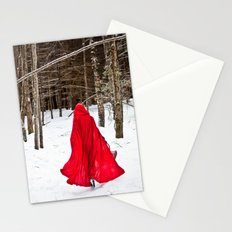 Little Red Riding Hood Runs Through The Woods In Winter Stationery Cards