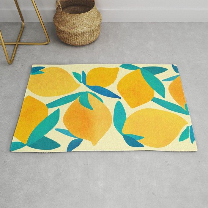 Mangoes - Tropical Fruit Illustration Rug