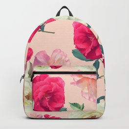 seamless   pattern of rose flowers . Endless texture Backpack