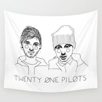 tyler spangler Wall Tapestries featuring Josh/Tyler by ☿ cactei ☿