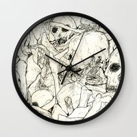 bones Wall Clocks featuring Bones by Jess Worby