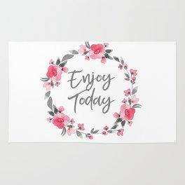 Enjoy Today - Pink and Grey Watecolor Floral Wreath Rug