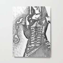 Come, it won't hurt, much... - black and white erotic, sexy bedroom games, mistress in latex Metal Print