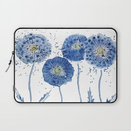 four blue dandelions watercolor Laptop Sleeve