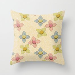 Pink Blue Yellow Abstract Flowers Throw Pillow