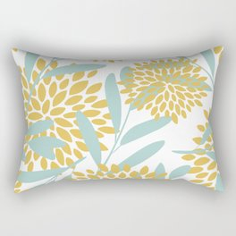 Floral Prints, Leaves and Blooms, Yellow and Aqua Rectangular Pillow
