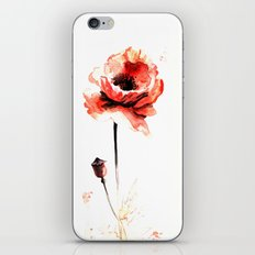 watercolor poppy iPhone & iPod Skin