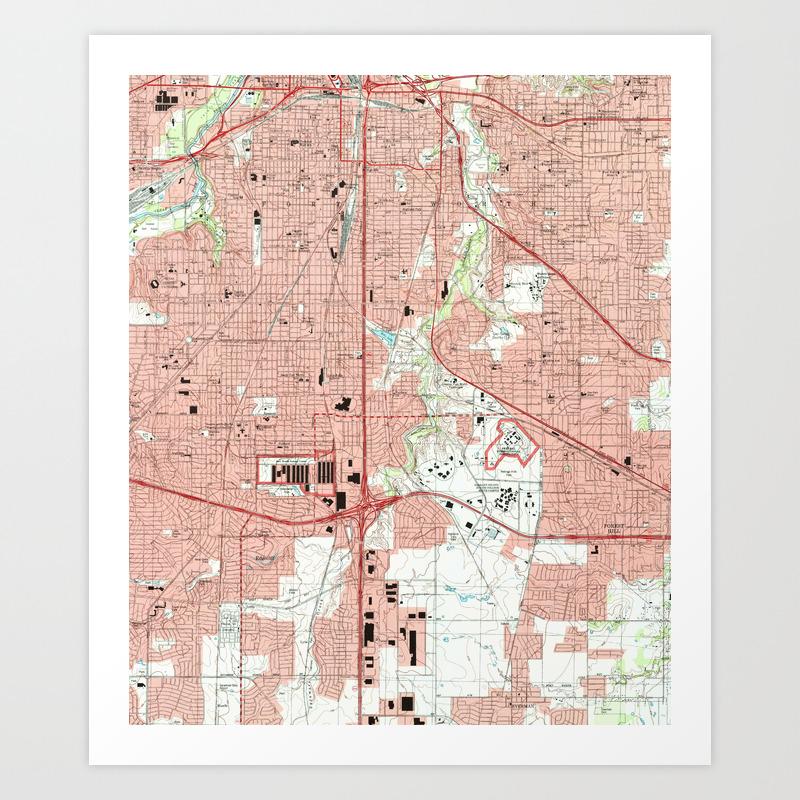 Fort Worth Texas Map (1995) Art Print