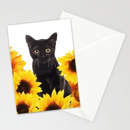 Sunflower Black Cat Stationery Cards