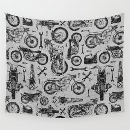 Vintage Motorcycle Pattern Wall Tapestry