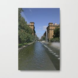 fountain of monumento a los caidos pamplona to Carlos III Metal Print