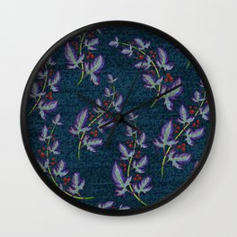 Weathered Flowers and Berries Wall Clock