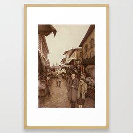 The Market at San Lorenzo , Florence Framed Art Print