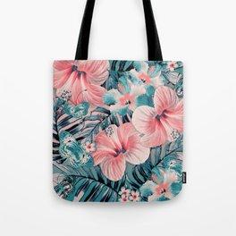 Vintage Jade Coral Aloha Tote Bag