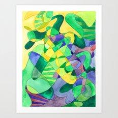 Green Doodle Art Print