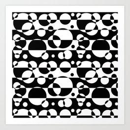 Black White Geometric Circle Abstract Modern Print Art Print