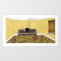 sofa Art Prints featuring Sofa by Zara Woodhead