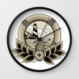 Ship Wreck Lighthouse Tattoo Wall Clock