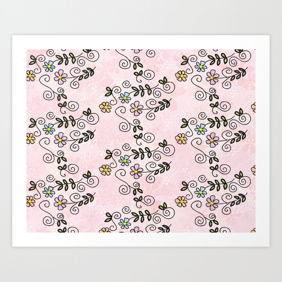 Handdrawn flower pattern Art Print
