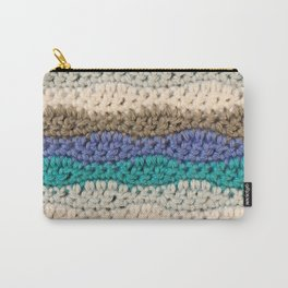 Crochet Waves - Blue & Gray Carry-All Pouch