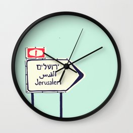 Jerusalem This Way Wall Clock