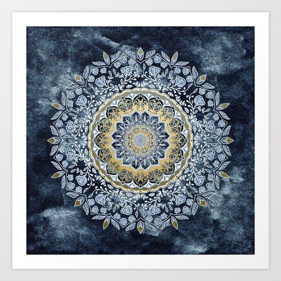 Blue Floral Mandala Art Print