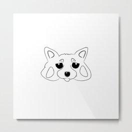 Red Panda Solo B&W Metal Print