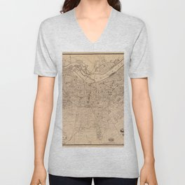 Map Of Louisville 1873 Unisex V-Neck