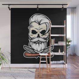 Vintage Barber Skull Wall Mural
