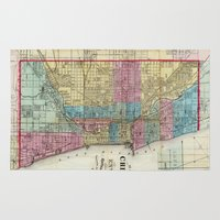 chicago map Area & Throw Rugs featuring Vintage Map of Chicago (1869) by BravuraMedia