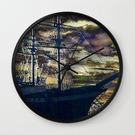 Lahaina Whaling Ship Sunset Wall Clock