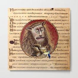 Medieval Lion And Owl Metal Print