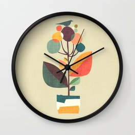 Potted plant with a bird Wall Clock