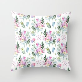 Flower pattern: watercolor Throw Pillow