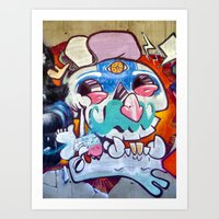 grafitti Art Prints featuring Grafitti Clown by Valann