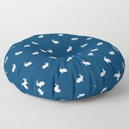 Rabbit silhouette minimal navy and white basic pet art bunny rabbits pattern Floor Pillow