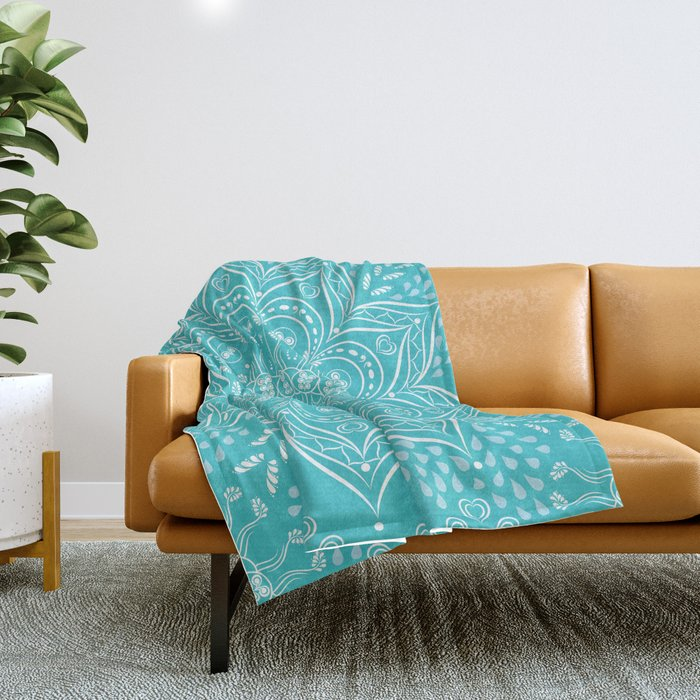 Teal mandala Throw Blanket